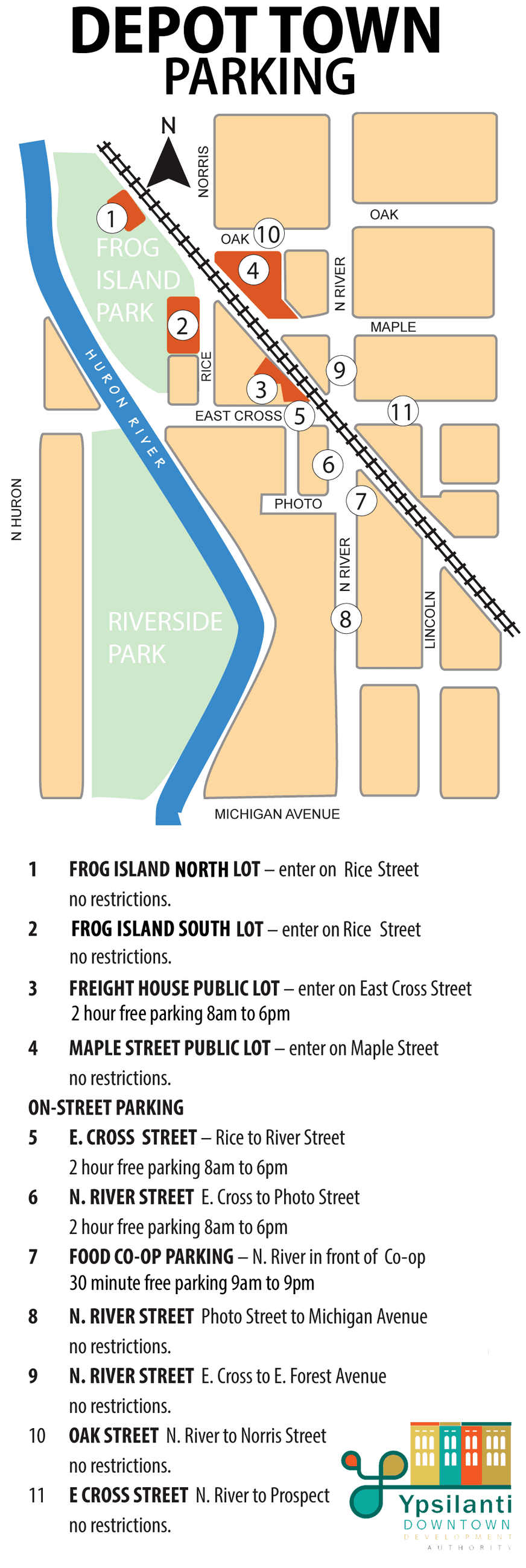 Map of on-street and off-street parking in the Depot Town commercial district