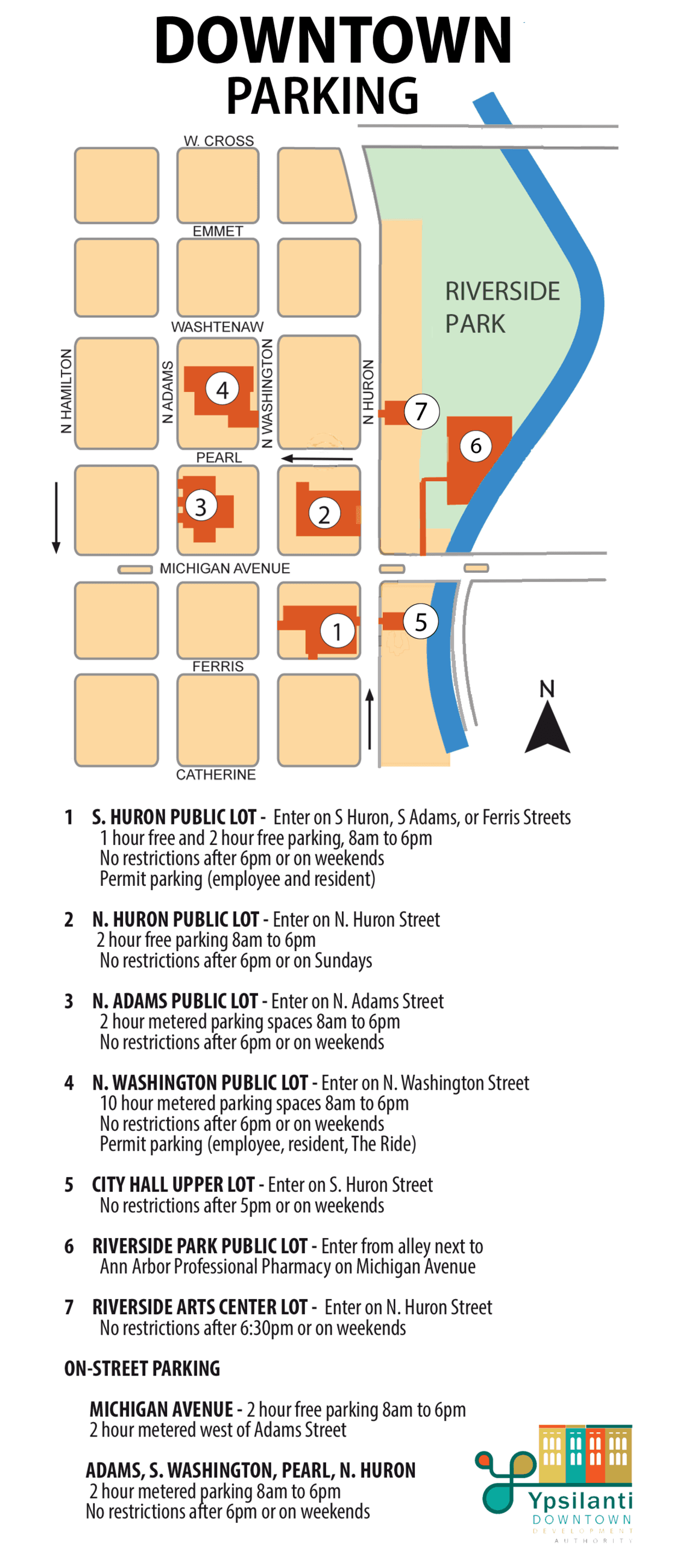 Map of on-street and off-street parking in the Downtown commercial district